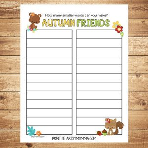 How Many Words in 'Autumn Friends' Worksheet Printable For Kids
