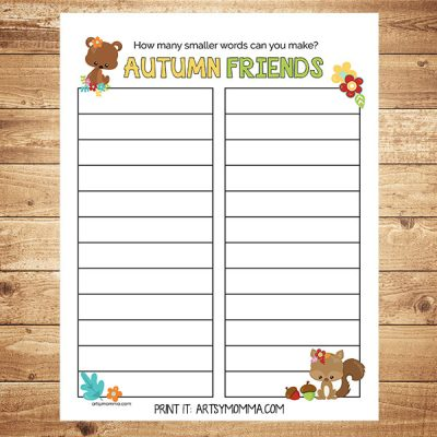 Fall Writing Activity: What Words Can Be Made From 'Autumn Friends'