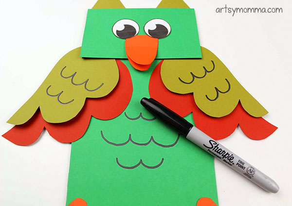 Owl Hand Puppets For Kids Imaginative Play - Draw on eyes.