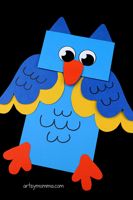 Owl Puppet Paper Bag Craft Idea For Preschoolers