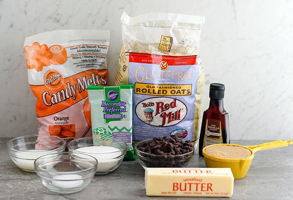 Ingredients for making gluten-free cookie dough pops for Halloween