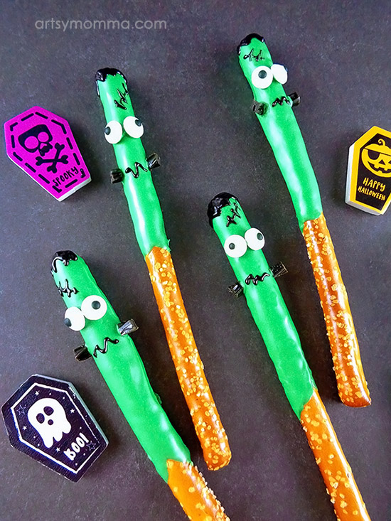 How to make Frankenstein Pretzel Rods for a fun Halloween party snack!