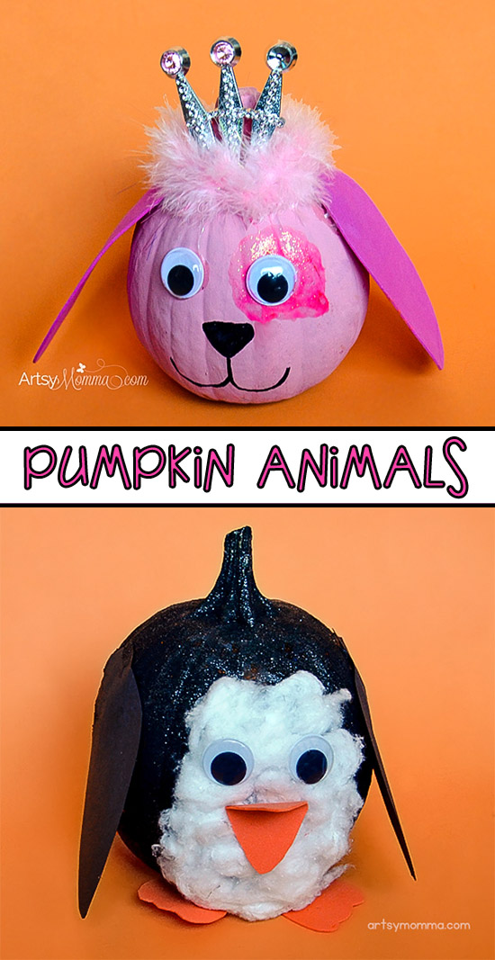 Painted Animal Pumpkin Designs