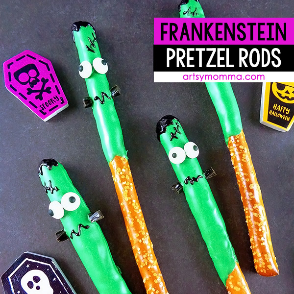 Easy Chocolate Dipped Frankenstein Pretzel Rod Pops
