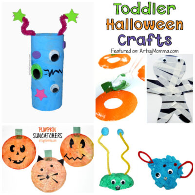 Collage of Halloween Crafts for Toddlers