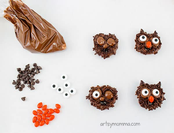 Pretzel Owls Instructions: Add candy eyes and M7M's with chocolate frosting.