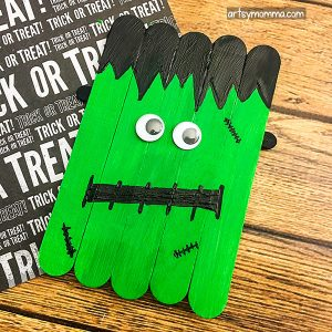Popsicle Stick Frankenstein Halloween Craft For Kids