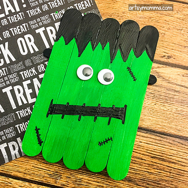 Easy Frankenstein Popsicle Stick Craft For Halloween