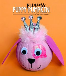 Painted Puppy Princess Pumpkin - Pretty pink princess dog!