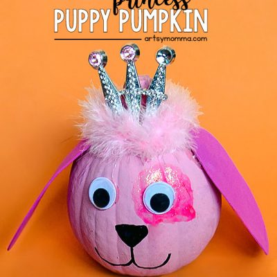 Painted Puppy Pumpkin – Cute Pink Princess Dog Design!