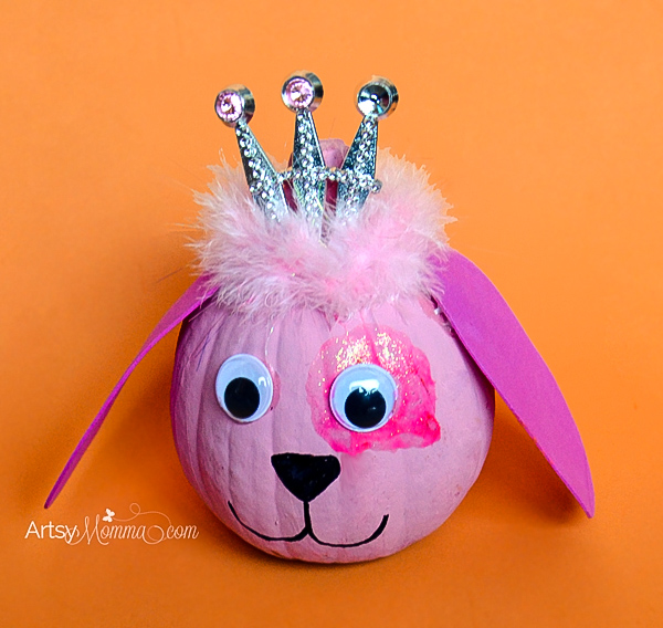 No-carve Puppy Dog Princess Pumpkin Idea For Halloween