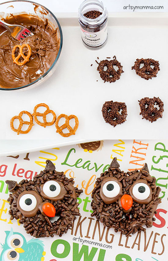 How to make chocolate covered pretzels shaped like owls for Halloween party!