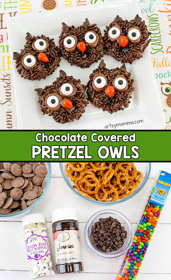 Owl Birthday Idea: Turn chocolate covered pretzels into adorable owl treats!