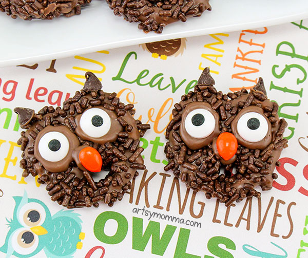 Cute Owl Shaped Treat Idea for Halloween, owl birthday idea, or woodland baby shower theme!