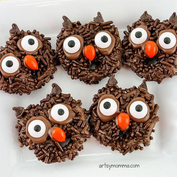 Chocolate Covered Pretzels Shaped Like Owls
