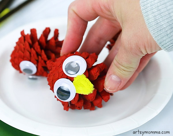 Hot glue on googly eyes