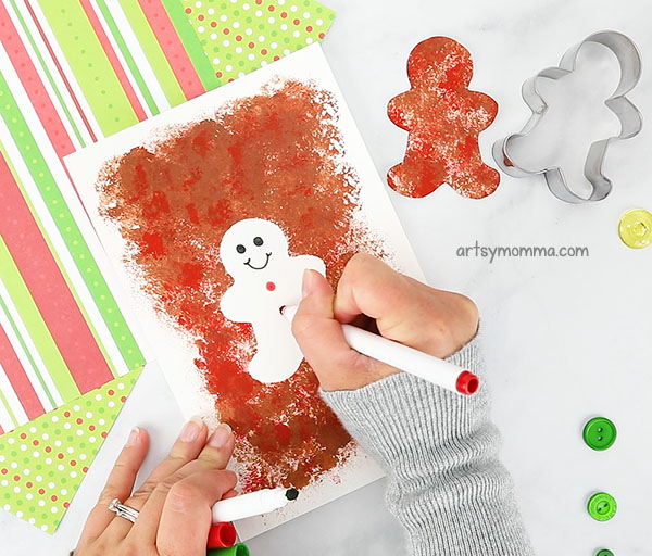 Decorate the white space inside the gingerbread man silhouette painting