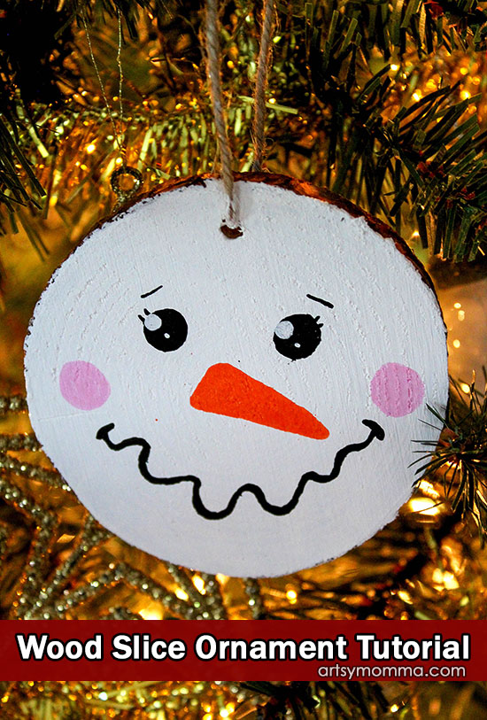 Cute Wood Slice Snowman Face Christmas Ornament Tutorial
