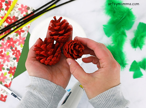 Painted Pinecone Christmas Craft For Kids