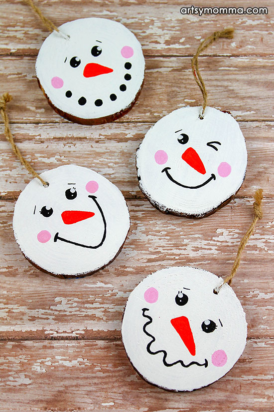 How to make painted Wood Slice Snowman Ornamets - Cute Christmas Craft For Tweens