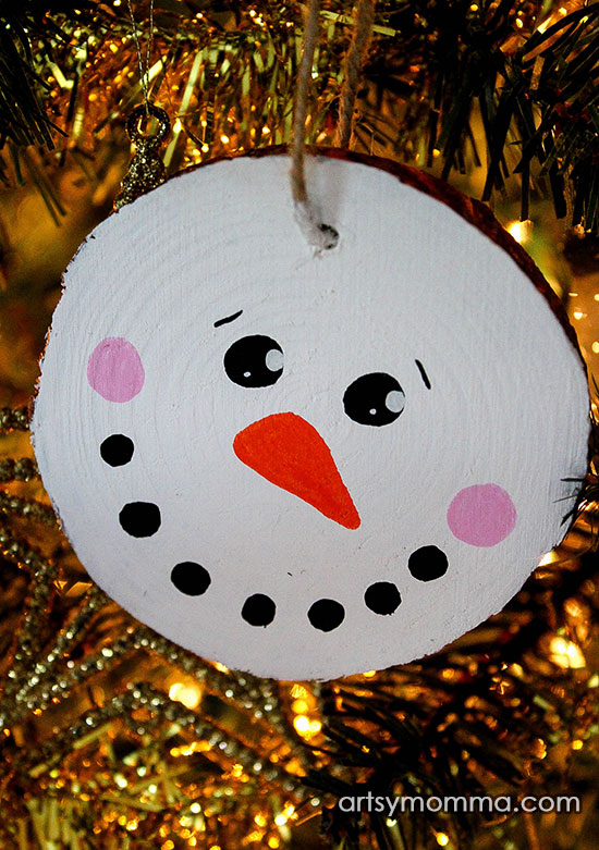 Craft For Tweens: Easy Wood Slice Snowman Ornaments