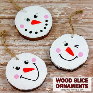 How to make Wood Slice Snowman Ornaments for Christmas