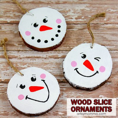 Cute Wood Slice Snowman Ornaments