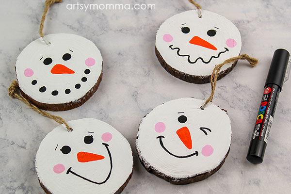 Painted Wood Slice Snowman Ornaments