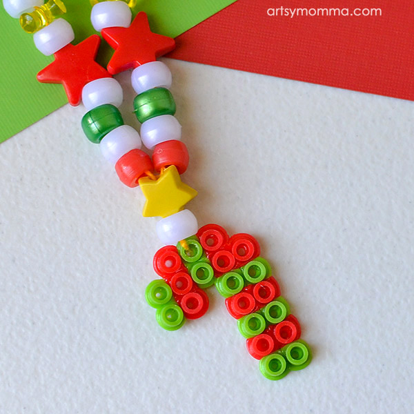 Fun And Festive Beaded Christmas Necklace – Melty Bead Candy Cane Charm Tutorial