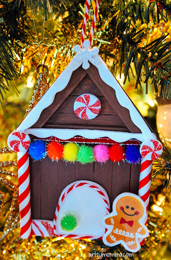 Popsicle Stick Gingerbread House Christmas Ornament Craft