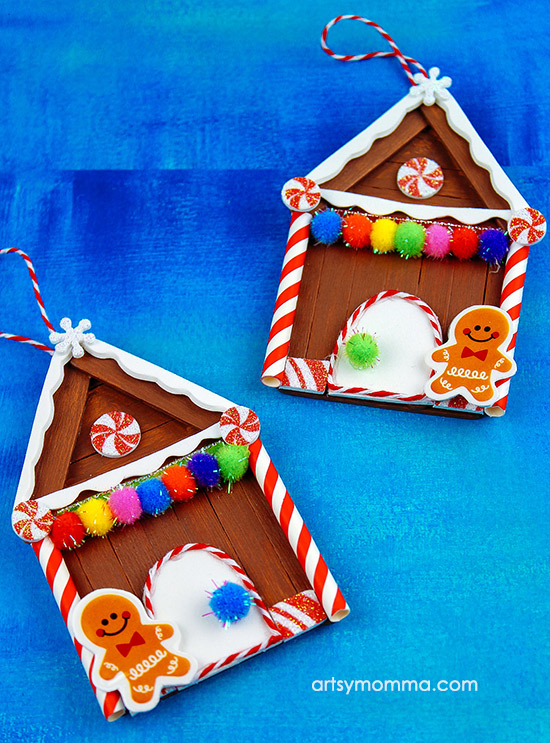 DIY Wood Craft Stick Gingerbread House Ornament - Craft For Tweens
