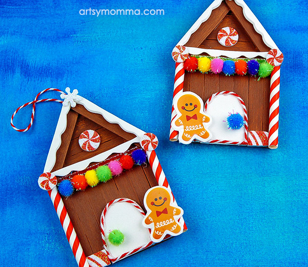 How to make a Popsicle Stick Gingerbread House Ornament