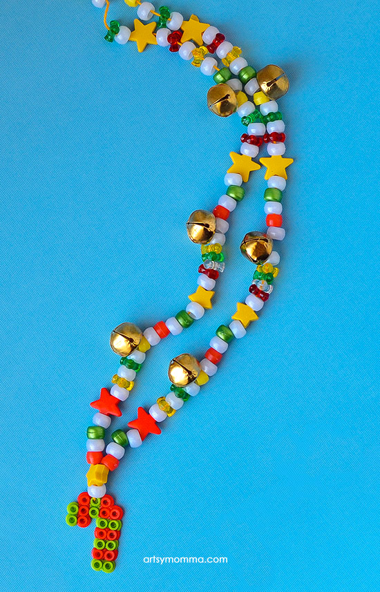 DIY Beaded Jingle Bell Christmas Necklace - Melty Bead Candy Cane Charm