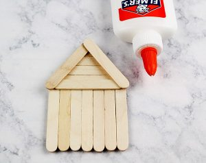 Mini Craft Stick Gingerbread House Ornament