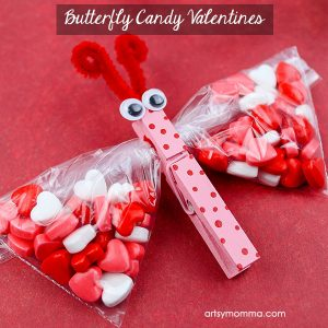 Candy Heart Butterfly Treat Bags for Valentine's Day