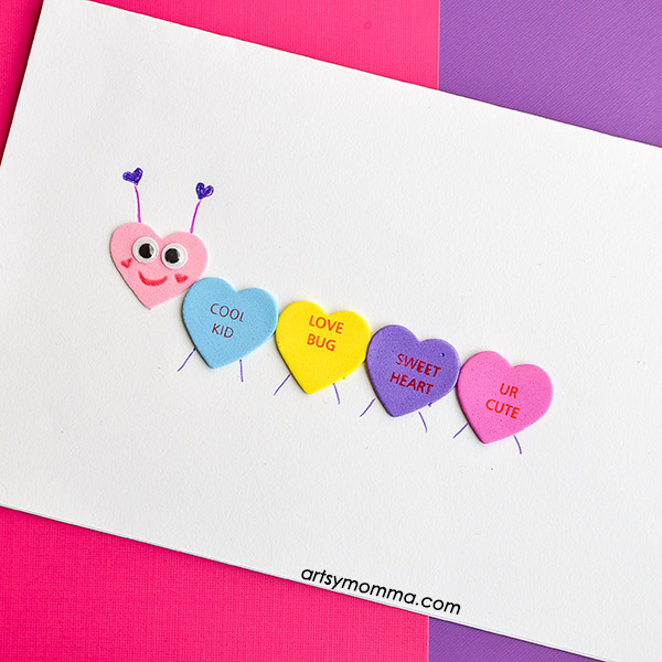Cute Conversation Heart Caterpillar Card Easy Valentine S Day Craft