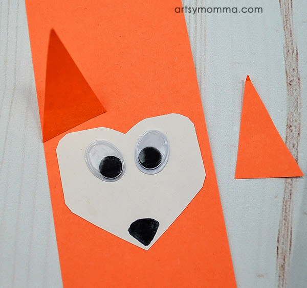 Easy Fox Construction Paper Craft - Add heart shaped face