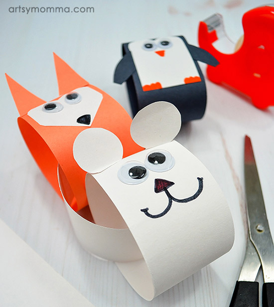 Rolled Paper Chain Animals In Winter Craft Idea