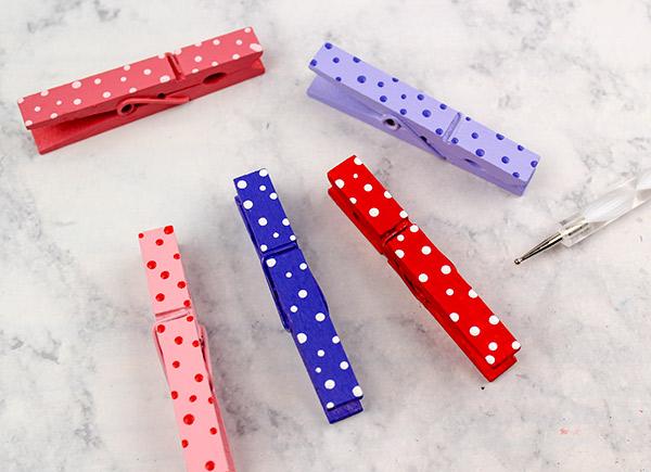Add polka dots to clothespins