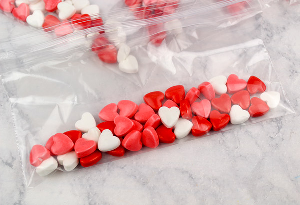 bags filled with candy hearts