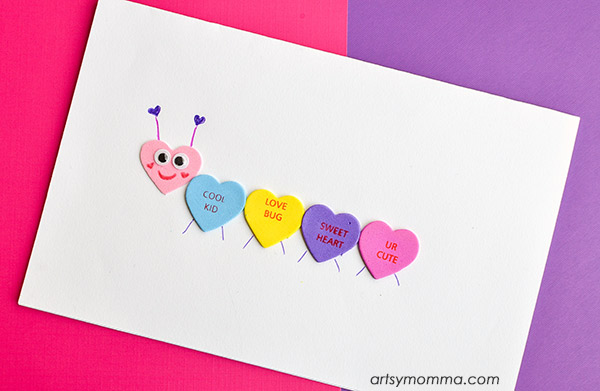 Simple Conversation Heart Caterpillar Craft For Kids
