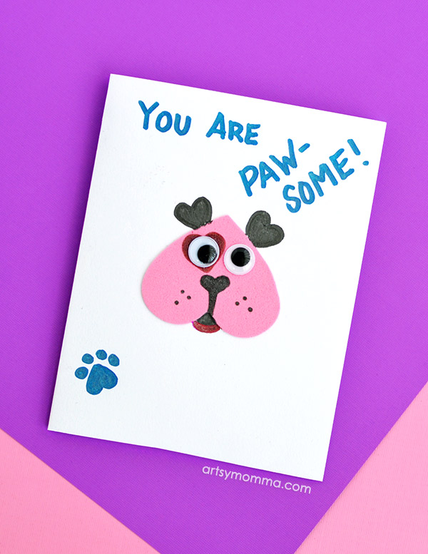 Cute Puppy Heart Card Idea For Kids To Make