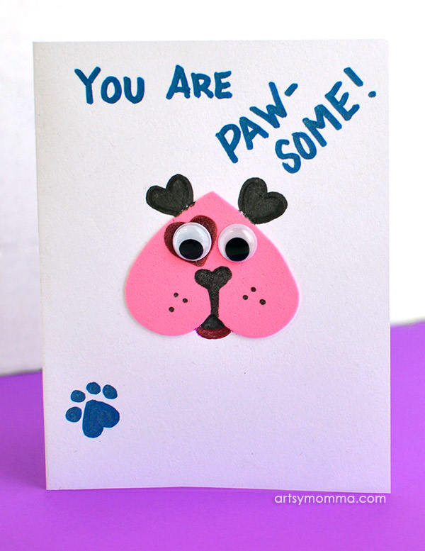 You Are PAW-some! Heart Shaped Puppy Card Idea