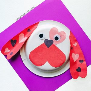 Paper Plate Valentine Puppy Craft - Made using heart shapes!