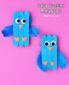 Adorable Baby Bluebird Mini Craft Stick Magnets For Kids To Make