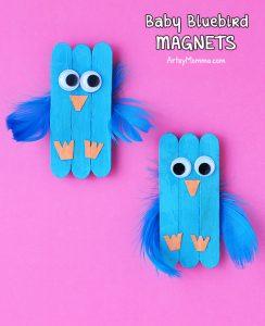 Cute Baby Bluebird Magnet Craft Idea For Kids