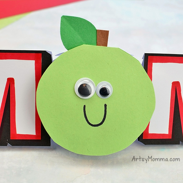 Apple Craft For Letter O in MOM Card