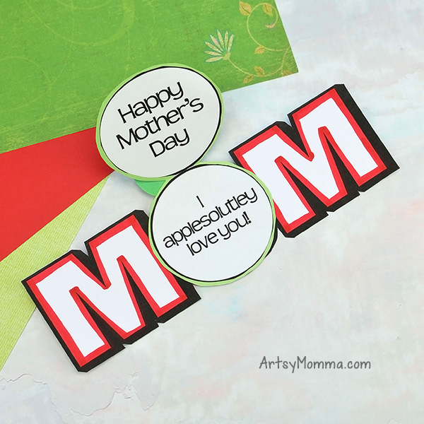 Printable MOM Mother's Day Cards with Cute Apple Sayings