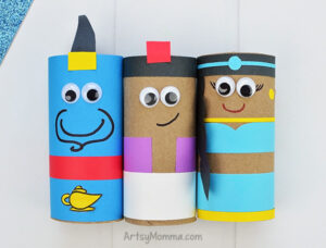 Recycled Cardboard Tube Genie, Princess Jasmine, & Aladdin Craft Ideas