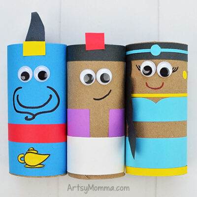 How to Easily Turn Cardboard Tubes Into the Cutest Aladdin Crafts – Printable Templates!